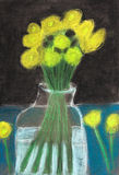 Children drawing - yellow flowers in glass jar Royalty Free Stock Images