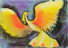 Children drawing - yellow phoenix Stock Image