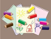 Children drawings Stock Photo