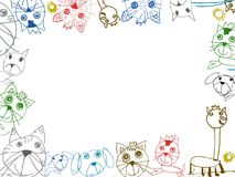 Children drawings background frame illustration. Isolated on white Royalty Free Stock Photography