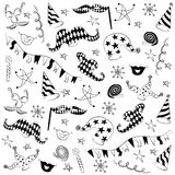 Children Drawings of Masquerade Symbols. Hand Drawn Party Elements. Stock Image
