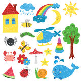 Children drawings set. Stock Photography