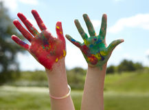 Children draws paints Royalty Free Stock Photography