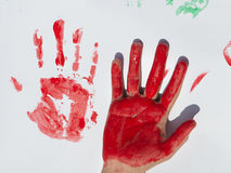 Children draws paints Stock Photography