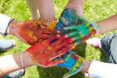 Children draws paints Stock Images