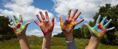 Children draws paints Royalty Free Stock Photos