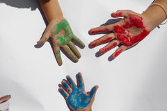 Children draws paints Stock Image