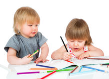 Children draws pencil Royalty Free Stock Photo