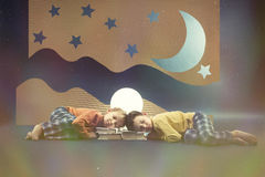 Children dreaming at night Royalty Free Stock Image