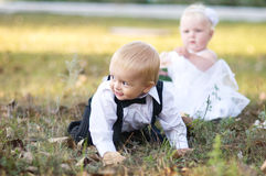 Children dressed as bride and groom Stock Photography