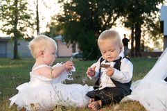 Children dressed as bride and groom Royalty Free Stock Image
