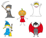 Children dressed for Halloween. Royalty Free Stock Image