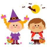 Children dressed in Halloween costumes hold buckets with candy. Vector Illustration of a girl and a boy in Halloween costumes, playing trick or treat Royalty Free Illustration