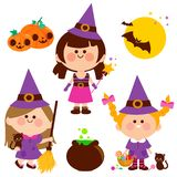 Children dressed in Halloween witch costumes. Vector Halloween collection. Vector Halloween Illustration collection of girls dressed in witch costumes, treats Royalty Free Illustration