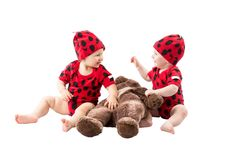Children, dressed in ladybug costume on white background. Stock Image