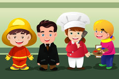 Children dressing up as professionals. A vector illustration of group of children dressing up as professionals royalty free illustration