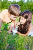 Girl and boy drink milk Stock Photo