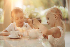 Children drink tea in cafe. Boy and girl drink tea in a cafe royalty free stock photos