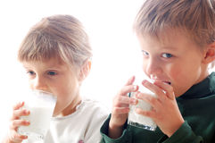 Children drinking milk Stock Photo