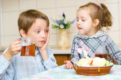 Children drinking tea Stock Photography