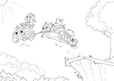 Children driving -bw. Four children from different part of the world and a little pig are driving a magic flying sort of car. Black and white illustration Royalty Free Stock Photography