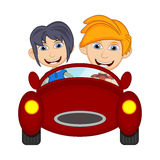 Children driving a car cartoon vector illustration Stock Photography