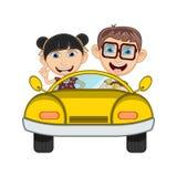 Children driving a car cartoon vector illustration Royalty Free Stock Photos