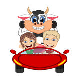 Children driving a car with cow cartoon vector illustration Royalty Free Stock Images