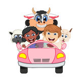 Children driving a car with cow, goat and sheep cartoon vector illustration. Full color royalty free illustration