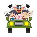 Children driving a car with cow, goat, sheep and pig cartoon vector illustration. Full color vector illustration