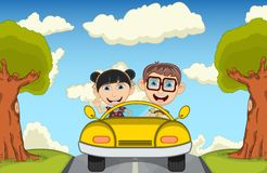 Children driving a car at the street cartoon vector illustration Stock Photo