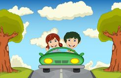 Children driving a car at the street cartoon vector illustration Stock Image