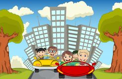 Children driving a car on the street cartoon vector illustration Royalty Free Stock Photo