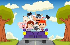 Children driving a car on the street with cow, goat, sheep and pig cartoon vector illustration. Full color royalty free illustration