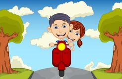 Children driving scooter cartoon vector illustration Stock Photos