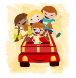 Children Driving.Vector illustration Royalty Free Stock Photos