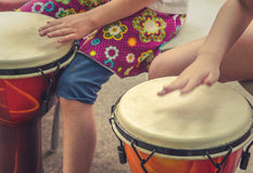 Children Drumming Detail Stock Photo