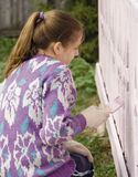Children dye the porch of rural house  Royalty Free Stock Images