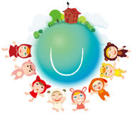 Children and the Earth. The happy children of the Earth green and clean Vector Illustration