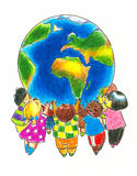 Children and Earth vector illustration
