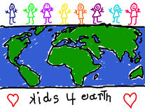 Children for earth awareness. Child's drawing of diverse group of children promoting earth friendliness Royalty Free Stock Photos