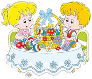 Children with an Easter basket Stock Image