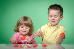Children and easter eggs Stock Image