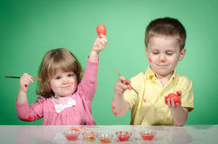 Children and Easter eggs Royalty Free Stock Photography