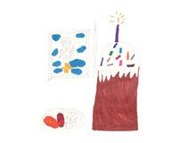 Children Easter torta rysuje ikona i jajka Obraz Stock