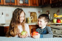 Children eat apples in the kitchen at the morning. The sister and brother hold the apple in their hands. And watching each other`s eyes royalty free stock image