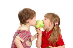 Children eat cabbage Royalty Free Stock Photos