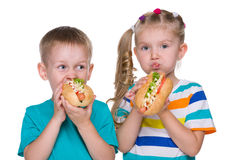 Children eat hot dogs. Two children eat hot dogs on the white background Royalty Free Stock Photo