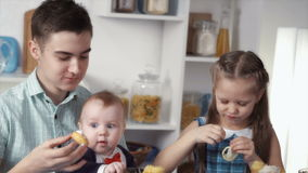 Children eat sweets stock video footage