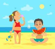 Girl on Beach Eating Ice Cream and Boy with Fruit. Children eating on beach vector, summer vacations of kids. Girl with ice cream frozen dessert holding toy in royalty free illustration